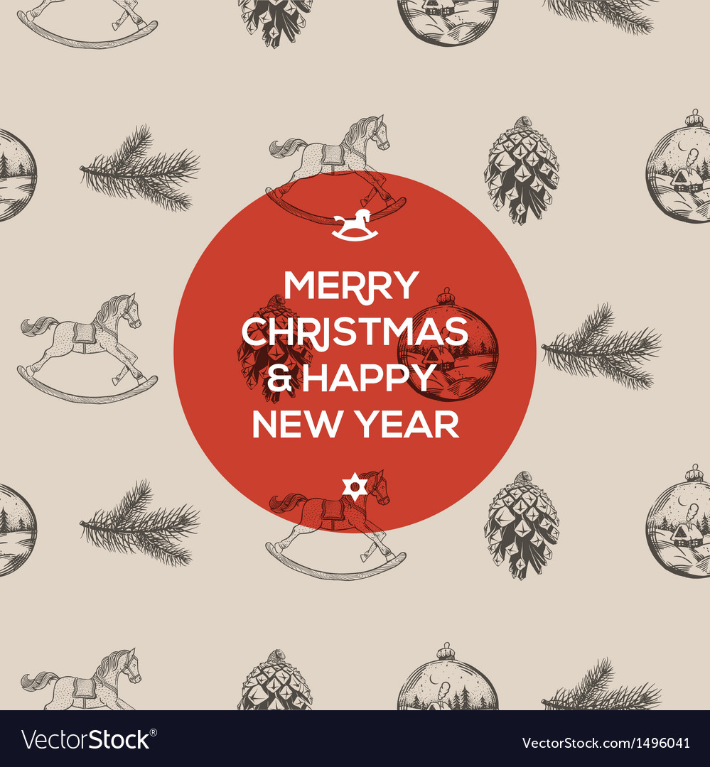 Christmas seamless hand-drawn pattern vector image