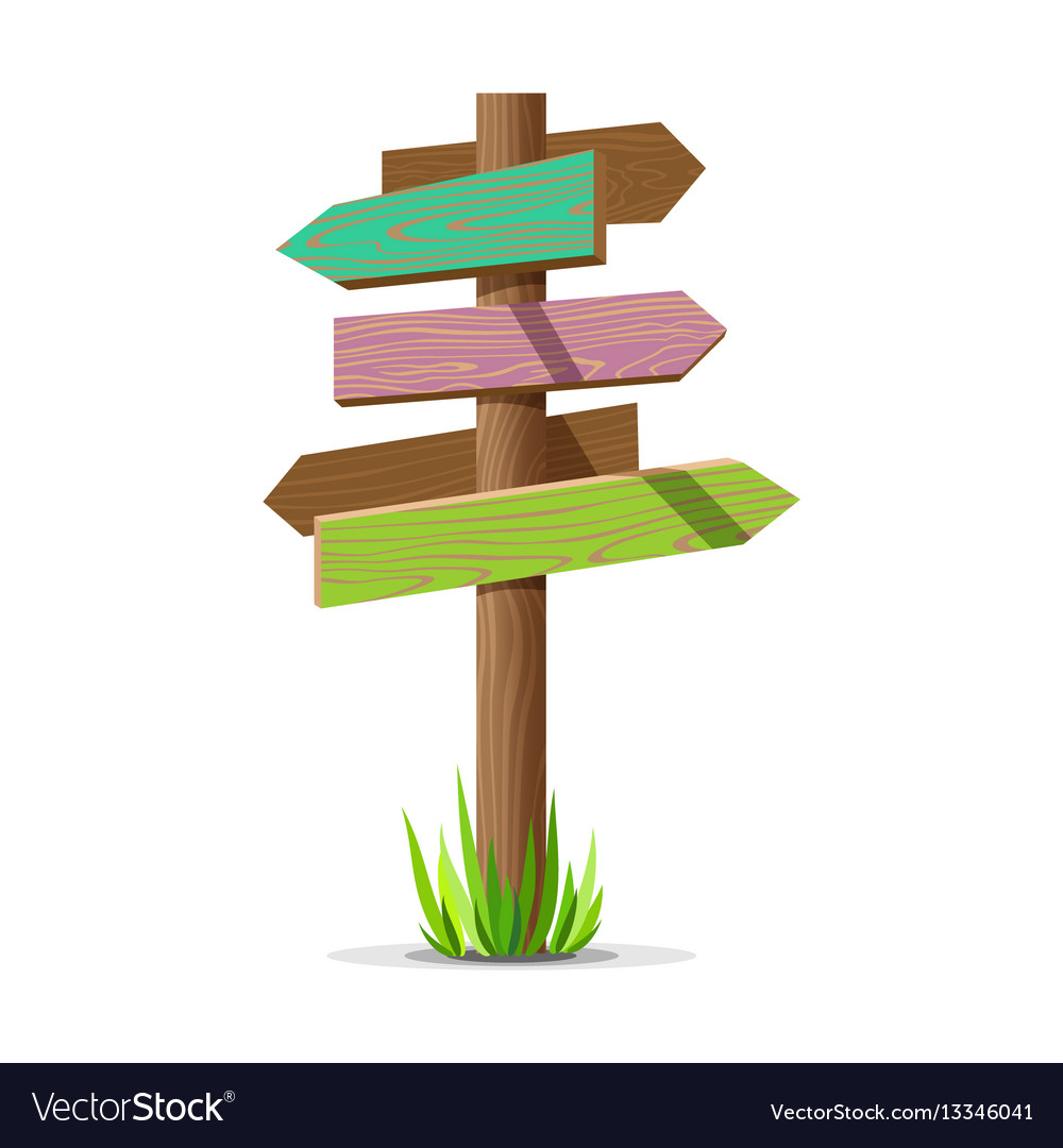 Colored wooden arrow empty signboard vector image