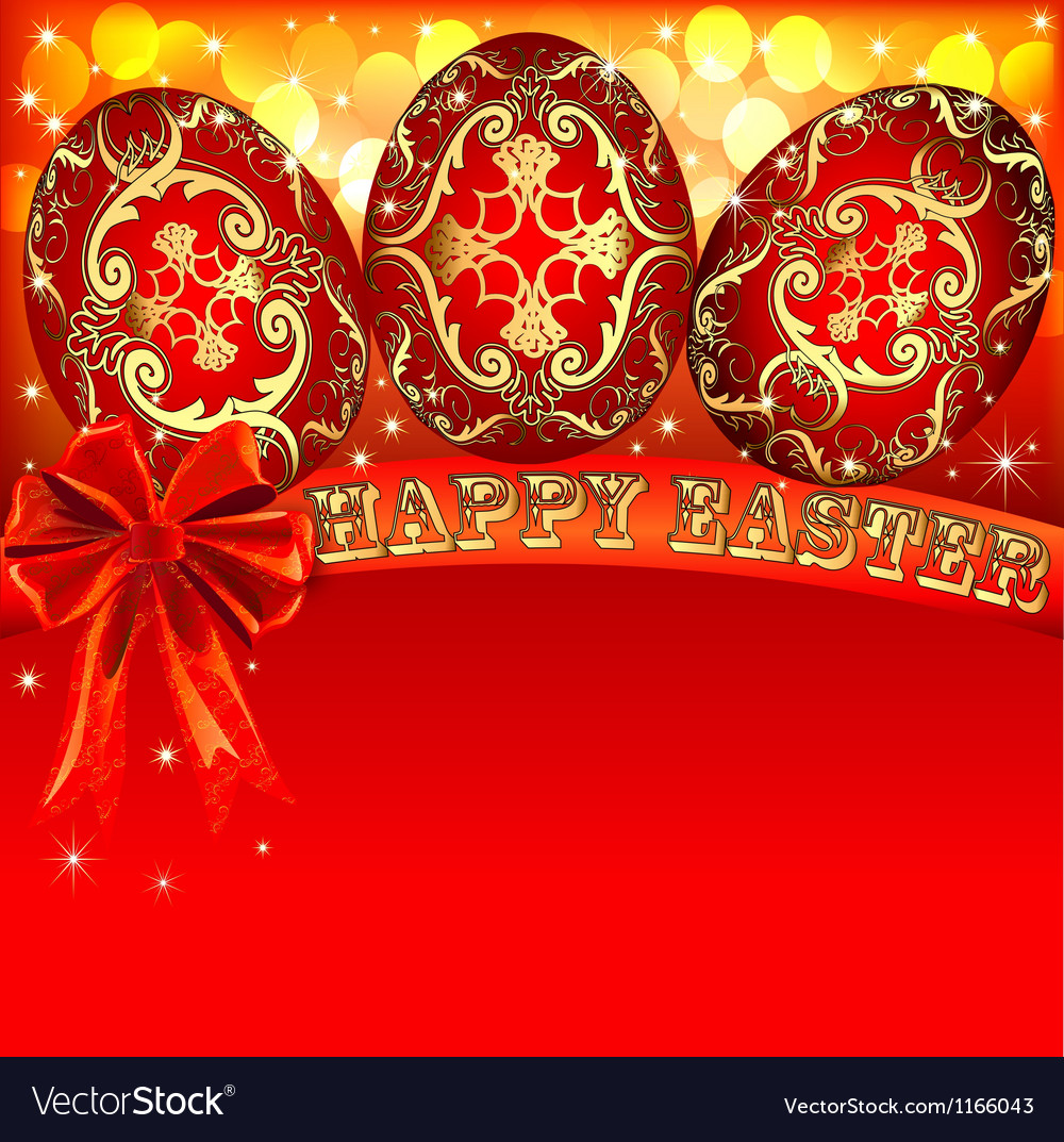 Background with Easter eggs and golden bow vector image