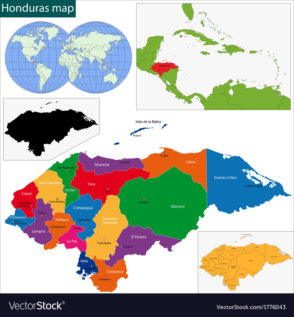 Honduras map Royalty Free Vector Image VectorStock