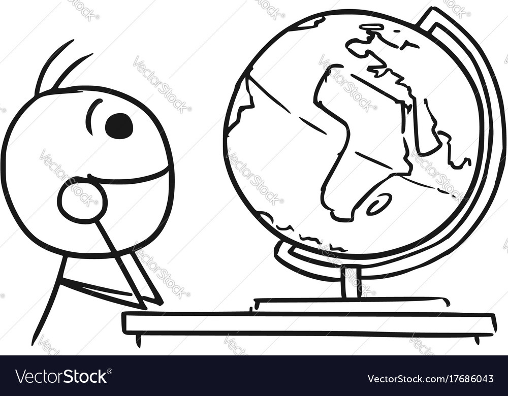 Stickman cartoon of men watching the globe and vector image