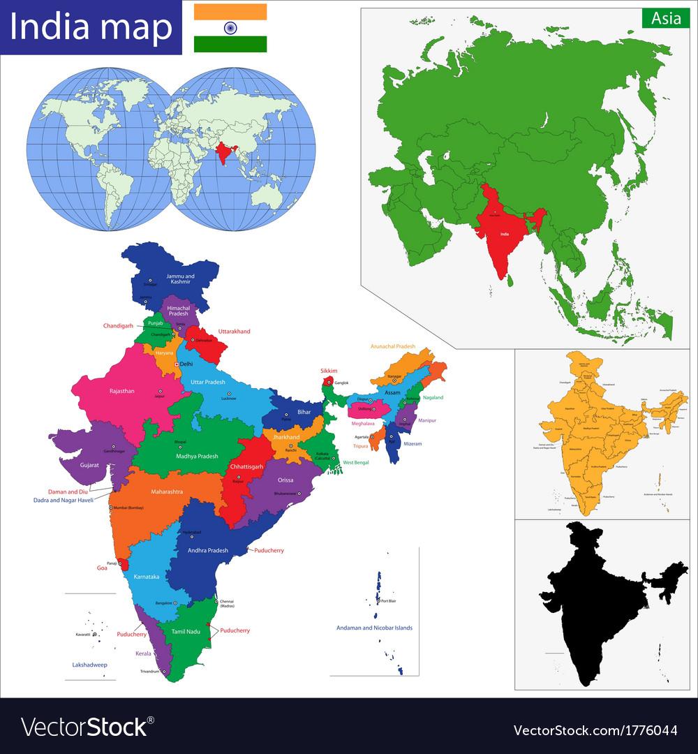 India Map Royalty Free Vector Image VectorStock - India map vector