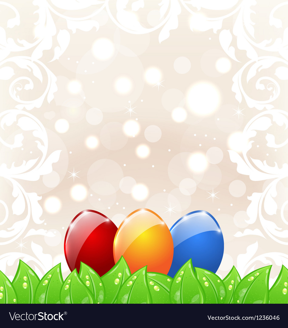 Easter background with colorful eggs vector image