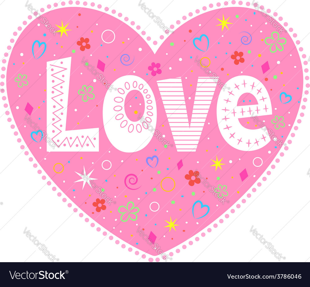Love lettering decorative heart vector image