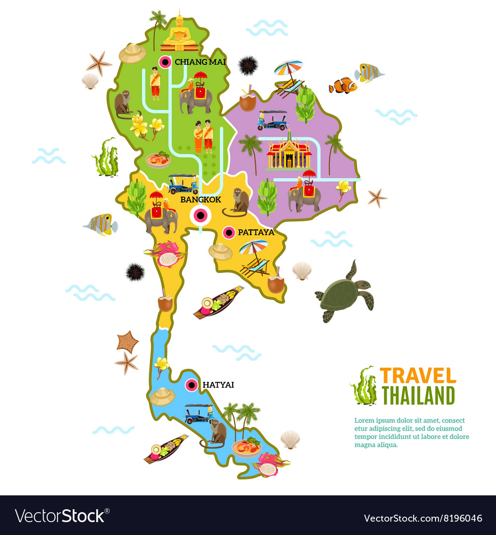 Thailand Map Poster Royalty Free Vector Image VectorStock