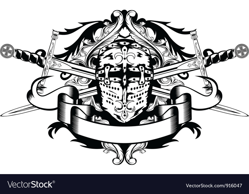 Crossed swords and helmet vector image