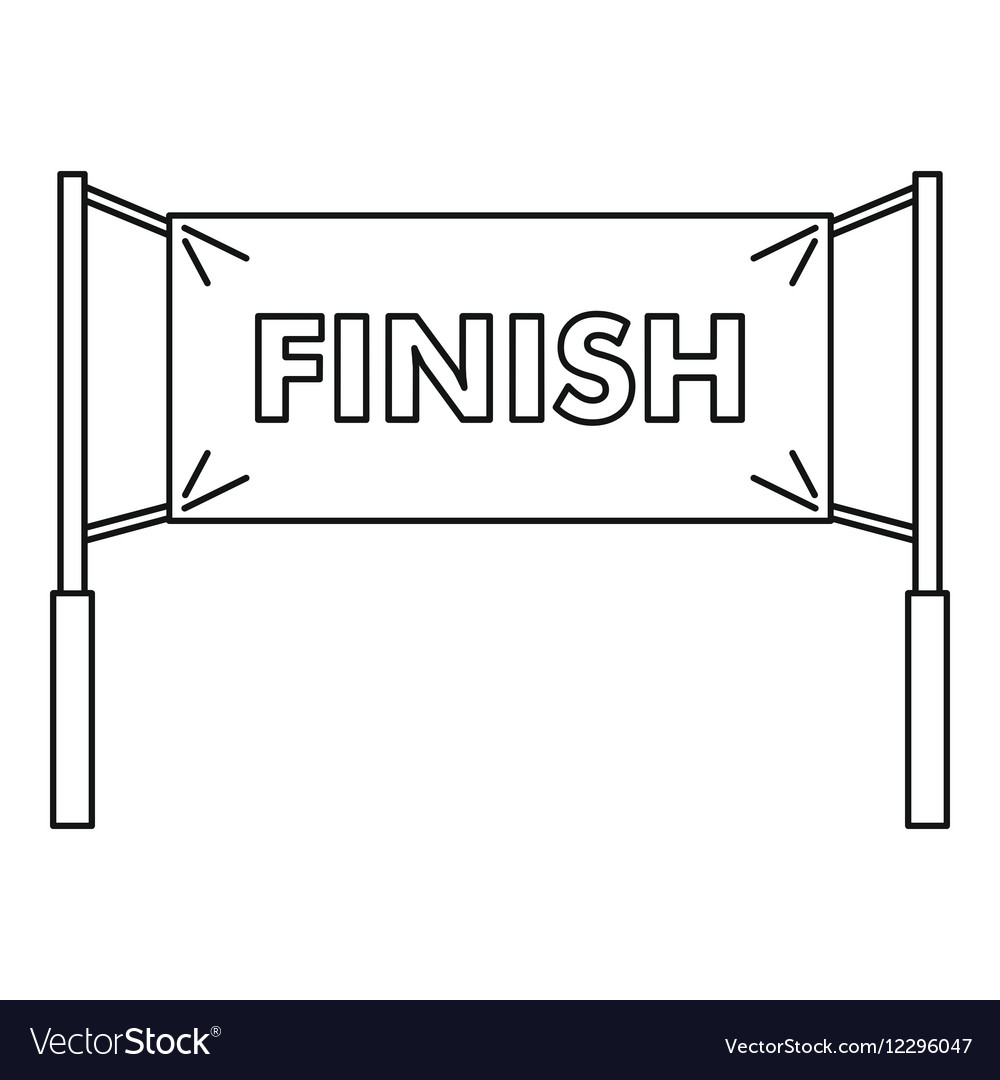 Finish line icon outline style vector image