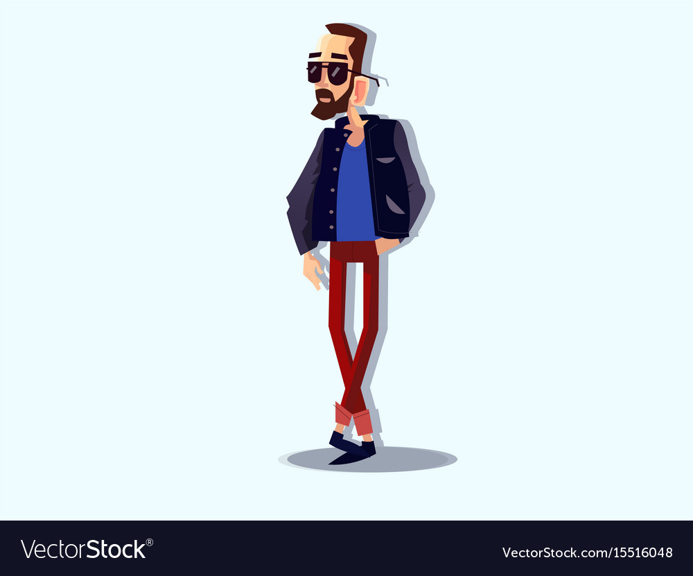 Cool hipster man vector image