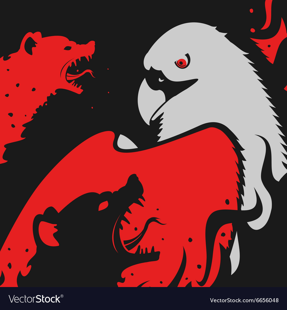 Hyenas attacks Eagle vector image
