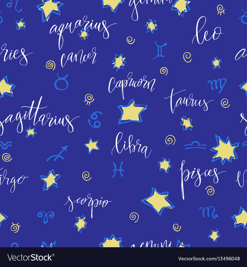Seamless with zodiac vector image