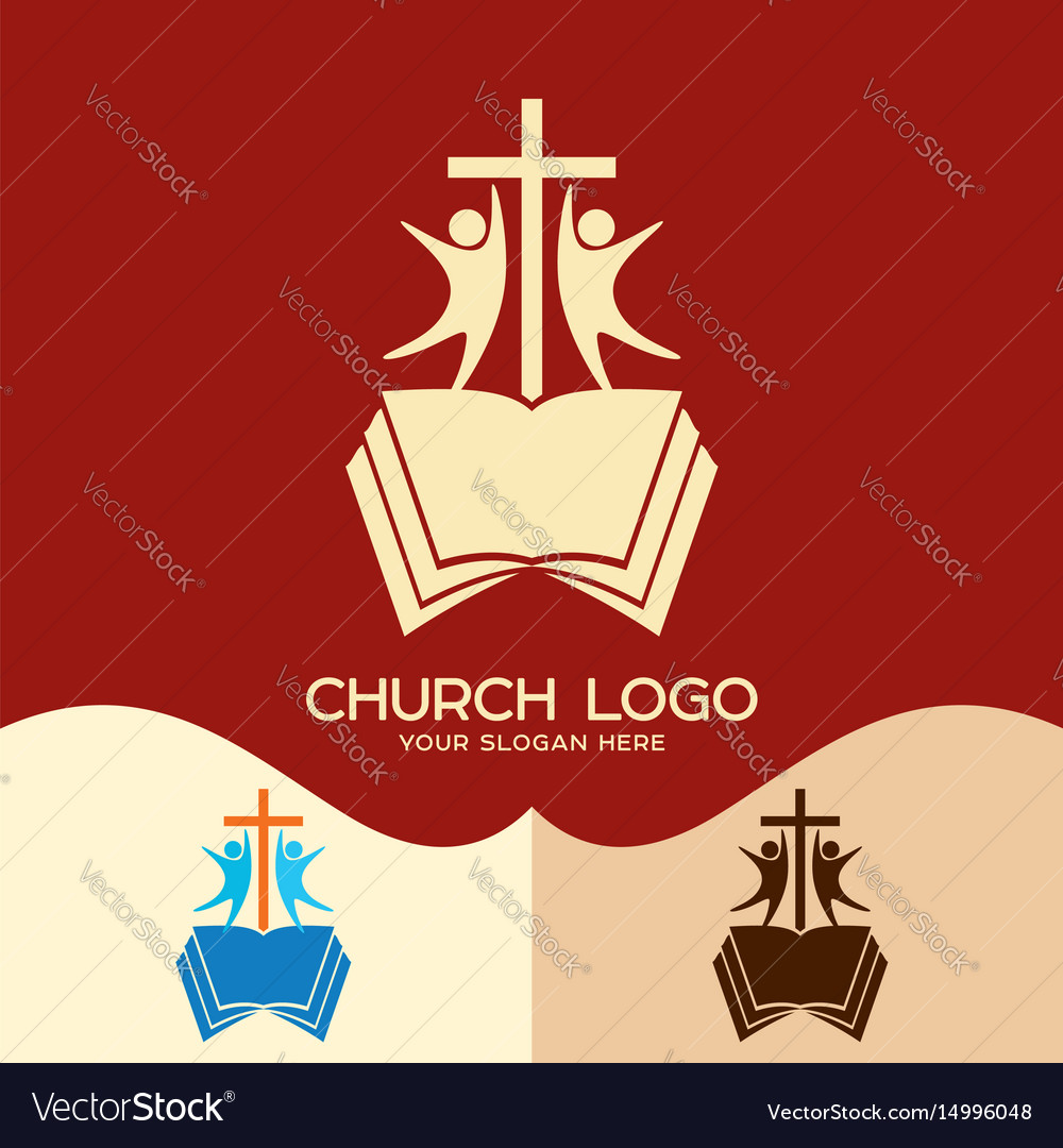 The cross of jesus the open bible and people vector image