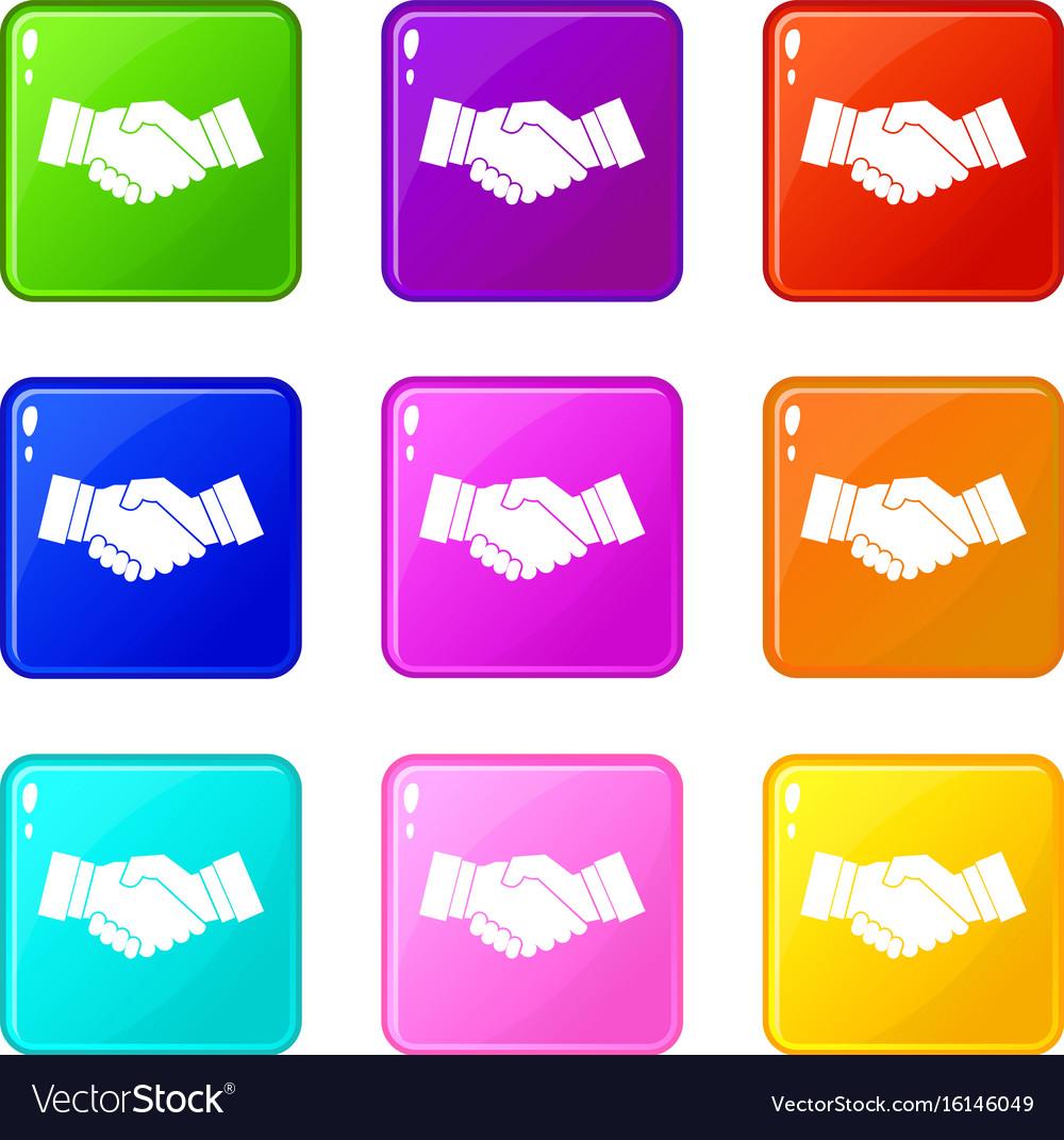 Handshake set 9 vector image
