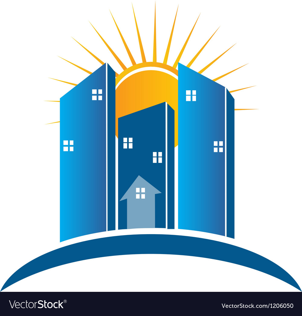 Modern Buildings with sun logo vector image