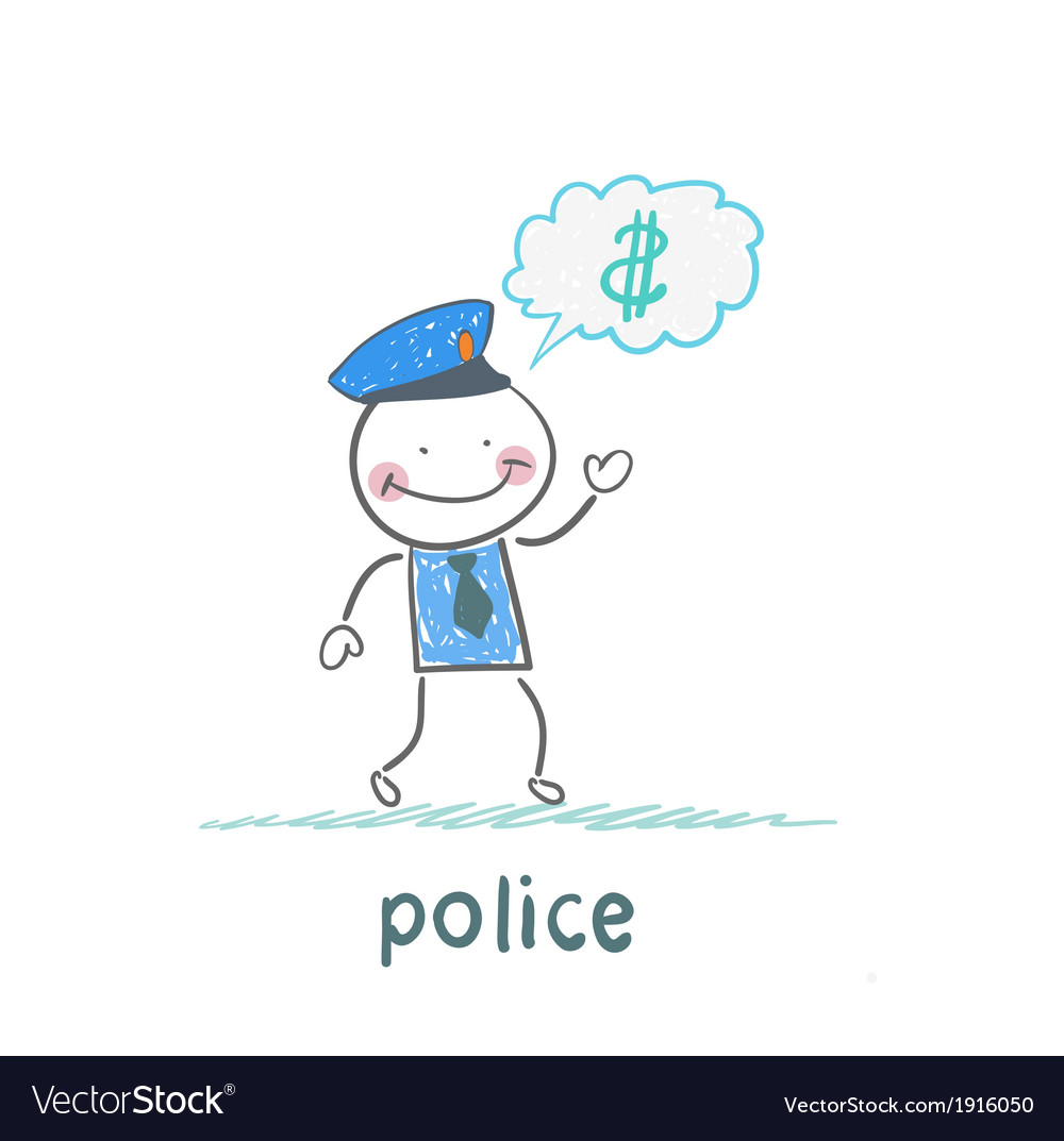 Police think about the money vector image