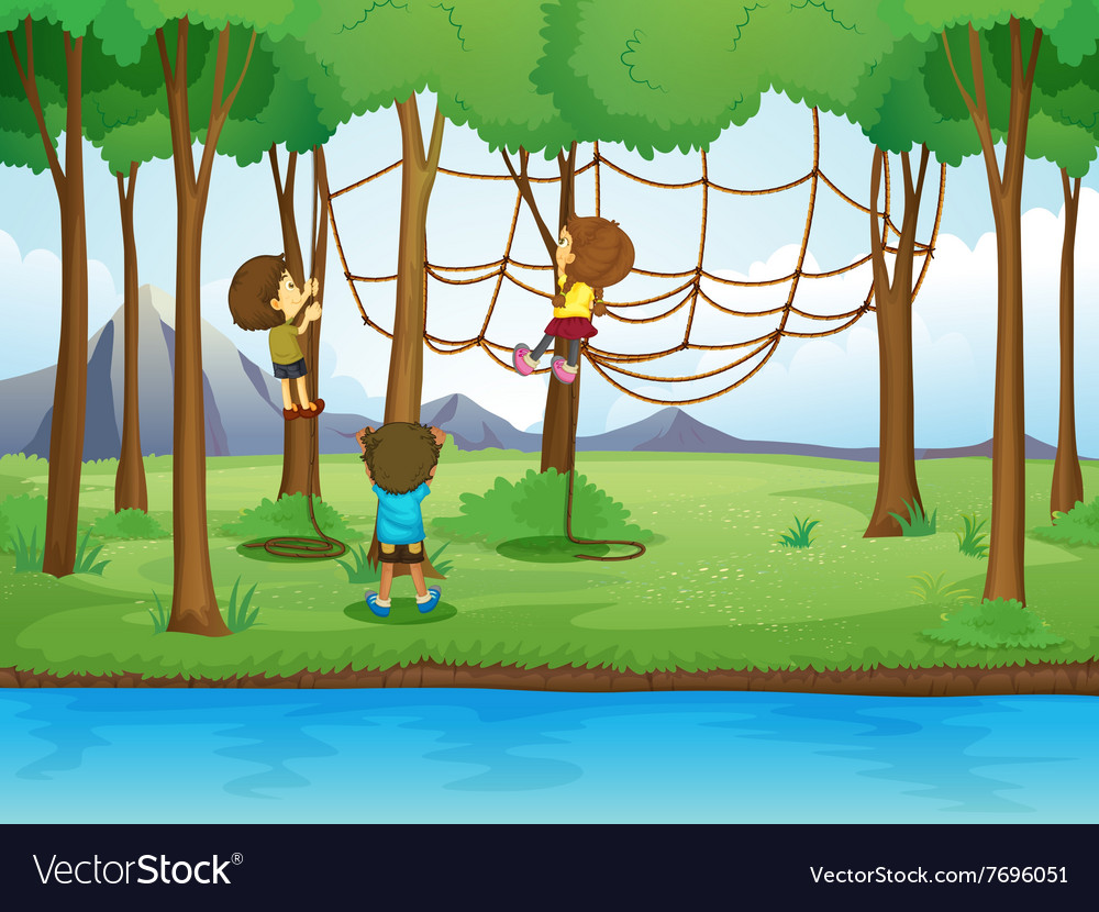 Children climbing rope in the forest vector image