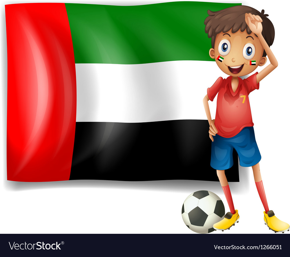 The UAE flag and the male athlete vector image