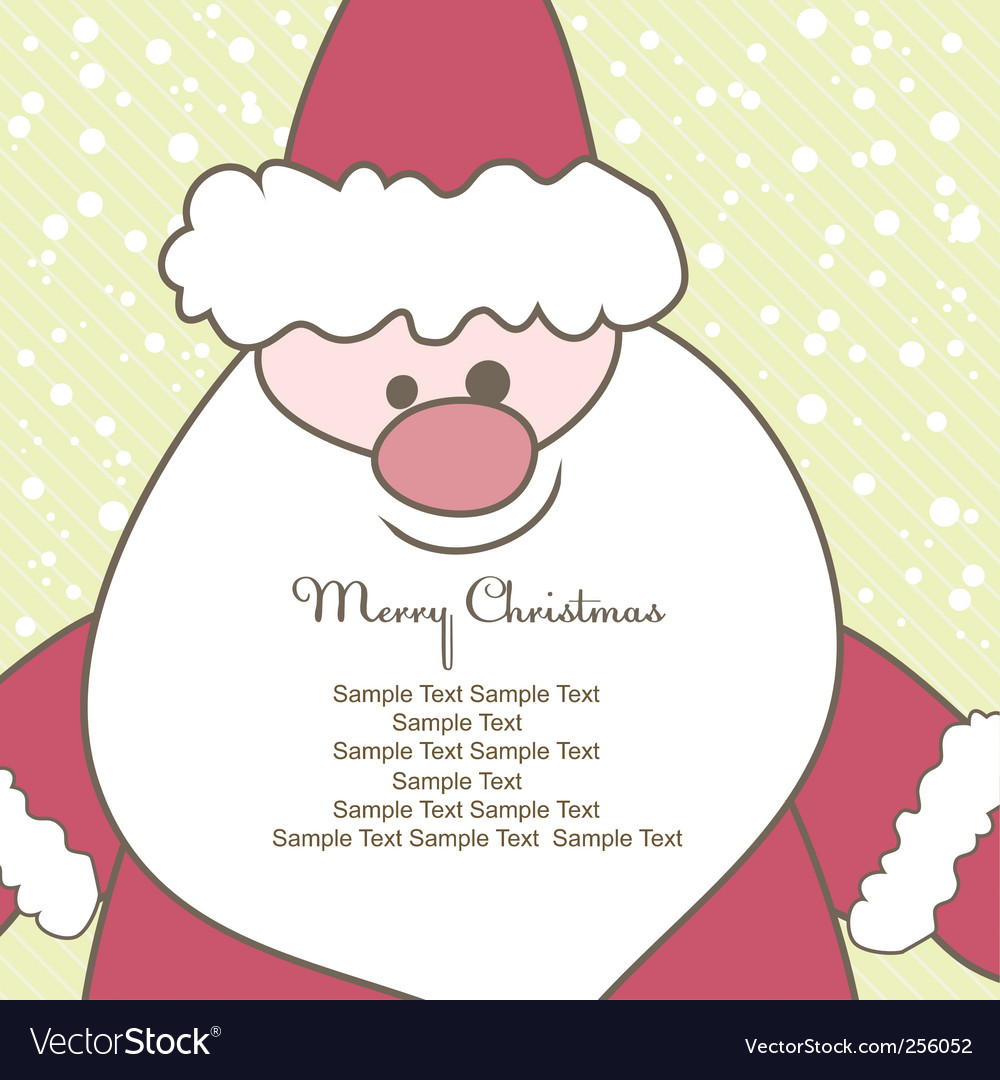 Christmas card with santa illustration vector image