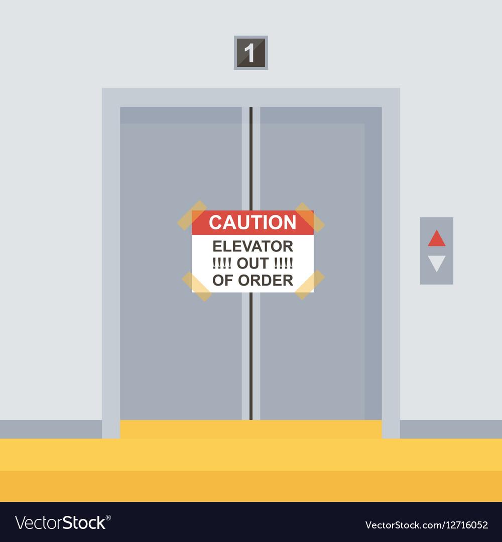 Flat design elevator doors icon vector image