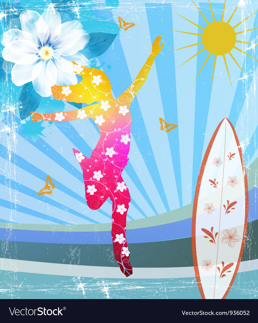 Girl flowers pattern vector image