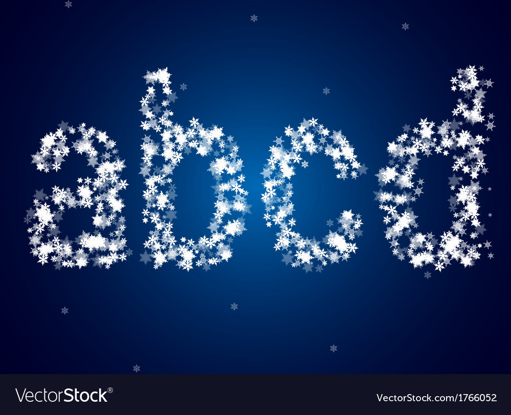 Snow letters over snow background vector image