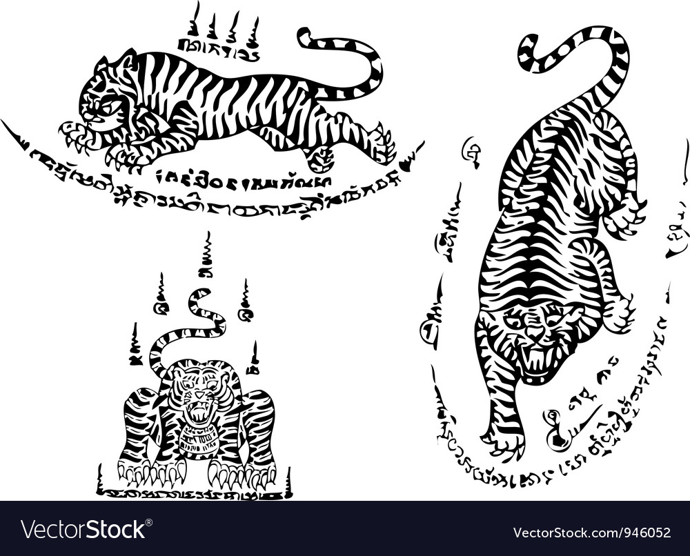 Tiger traditional thai art Tattoo Ancient vector image