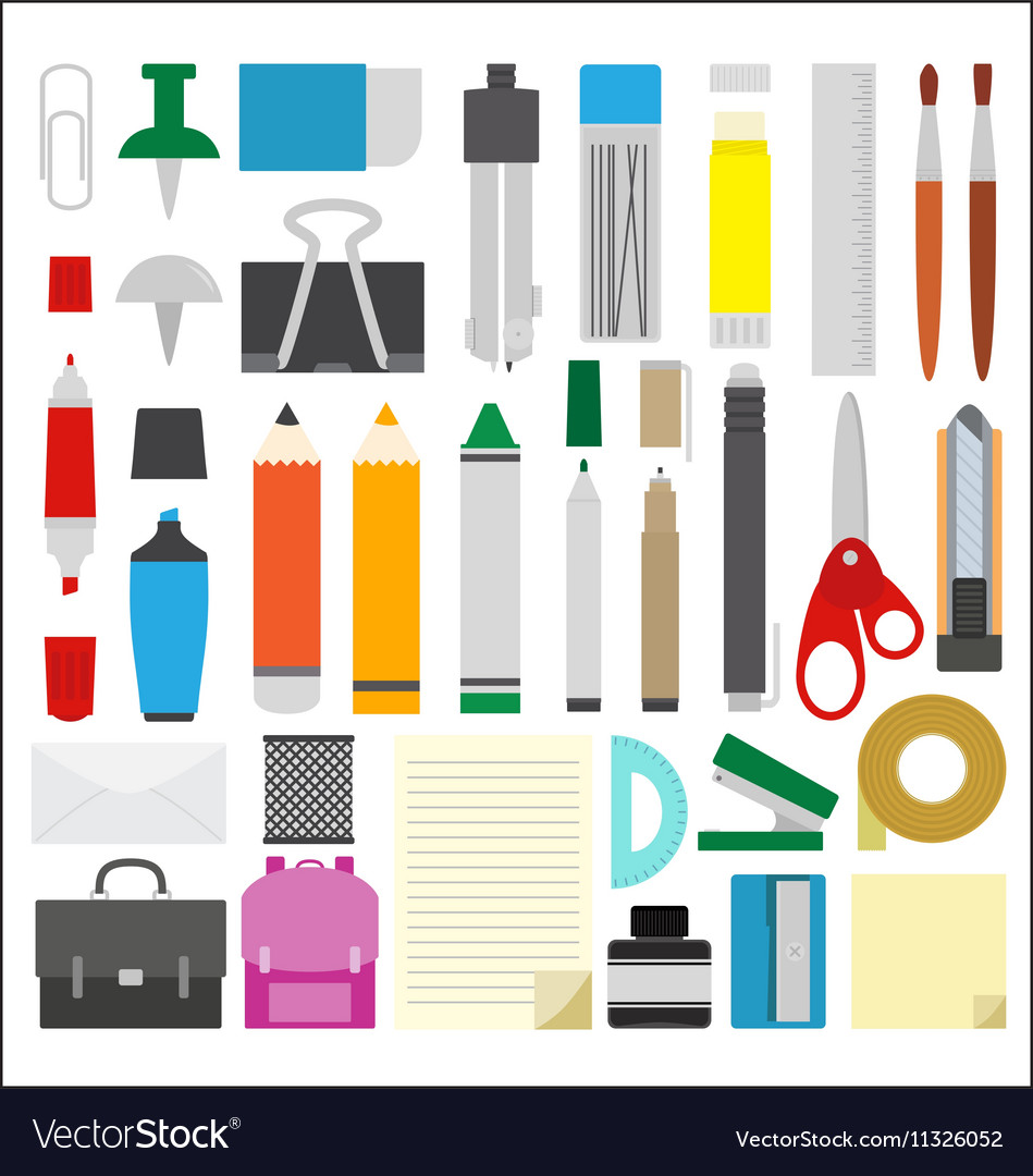 Work draw sketch school stationary flat design set vector image