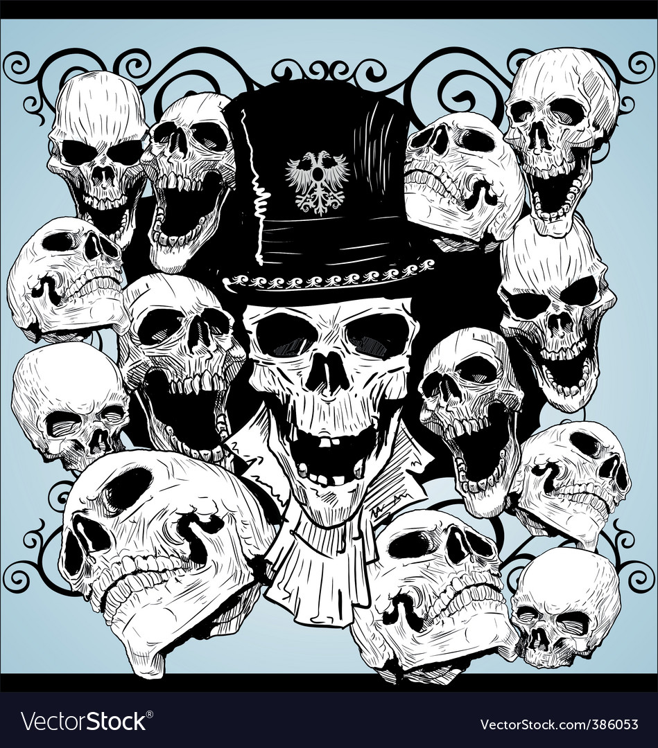 Skull tattoo wallpaper Vector Image