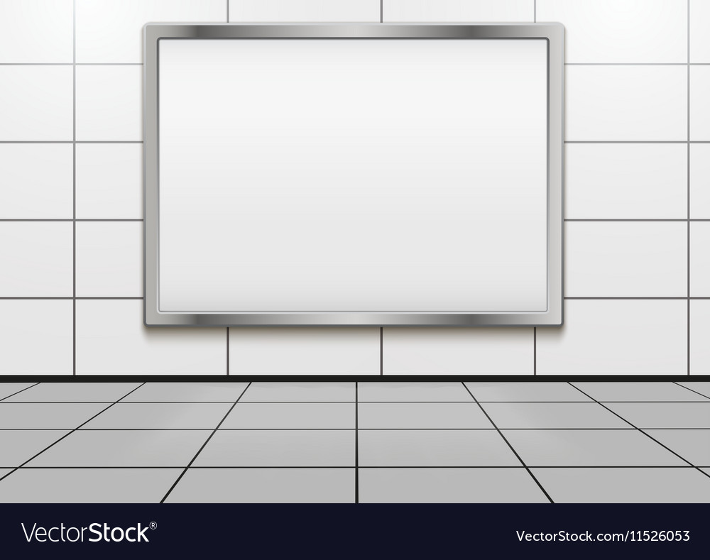 Mockup billboard inside metro or subway vector image