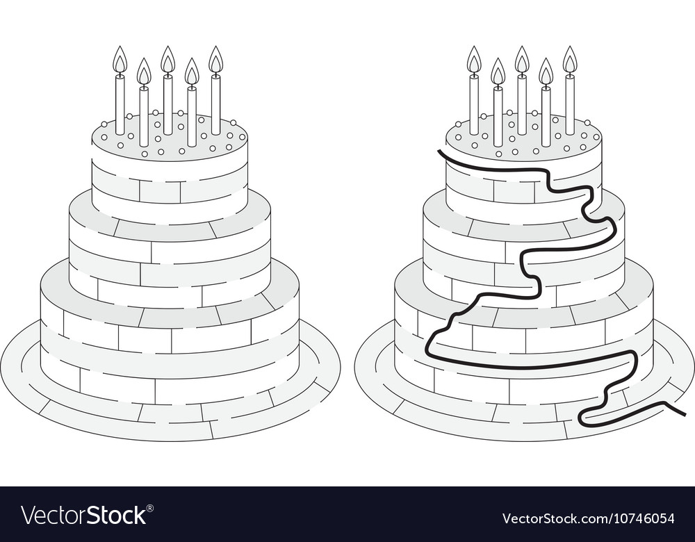 Birthday Cake Images Vektor ~ Easy birthday cake maze royalty free vector image