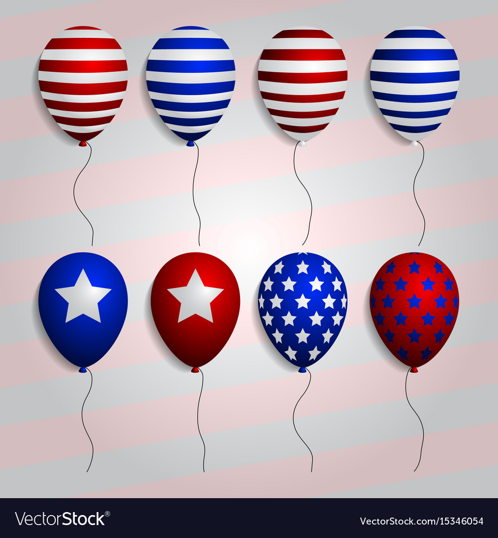 Realistic set balloons with american patriotic vector image