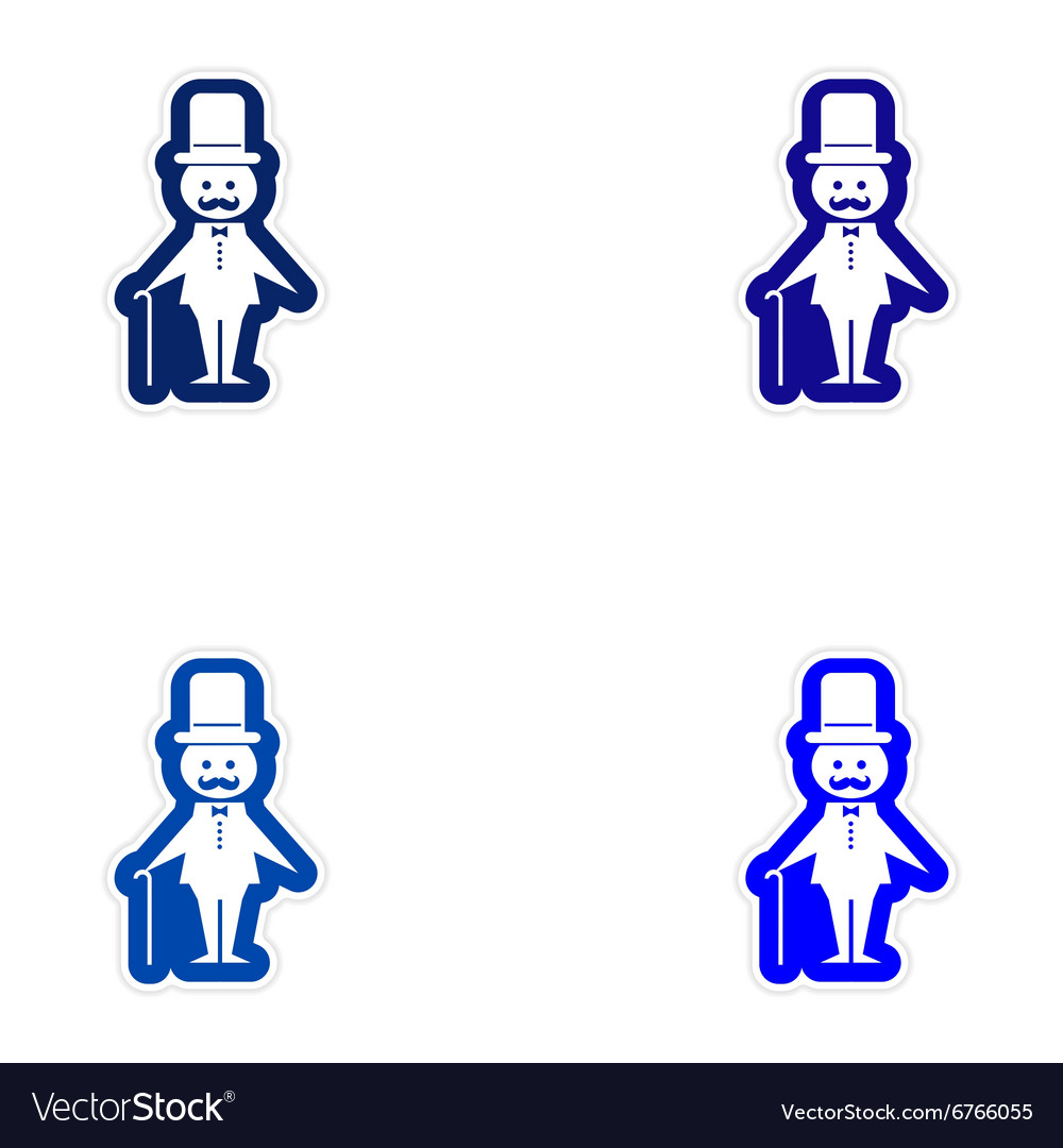 Set of paper stickers on white background father