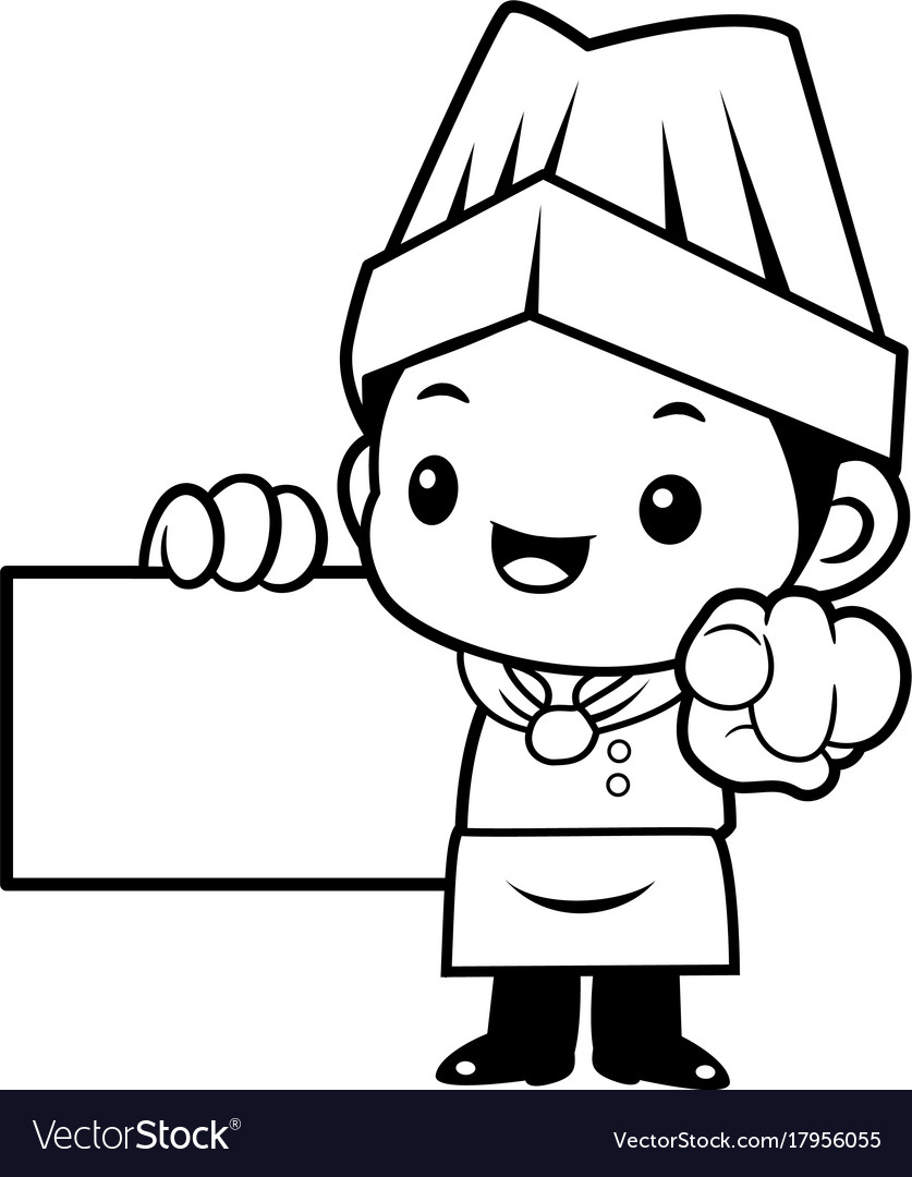 Black and white funny cook mascot business card Vector Image