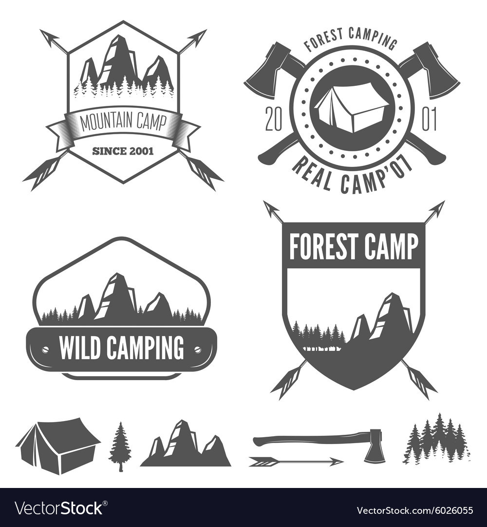 Set of vintage mountains or forest camp badges and vector image