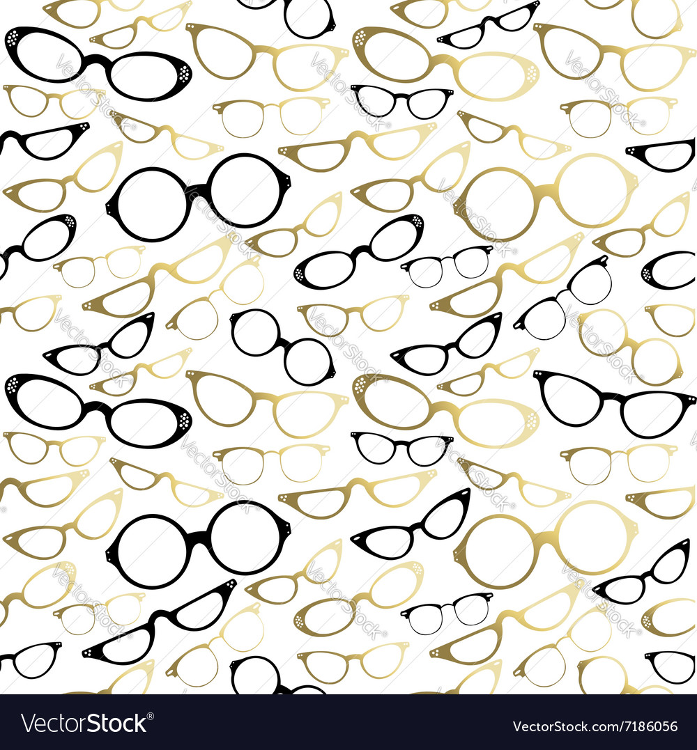 Vintage hipster glasses seamless pattern gold vector image
