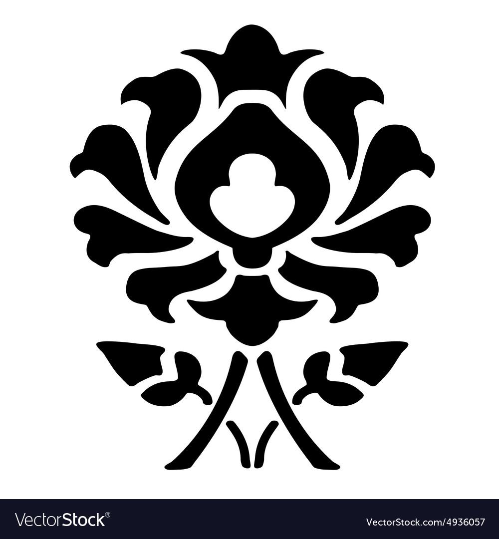 Black Flower Silhouette Pattern Royalty Free Stock Images: 14 Ornamental Flower Silhouette Pattern Flower Vector Image
