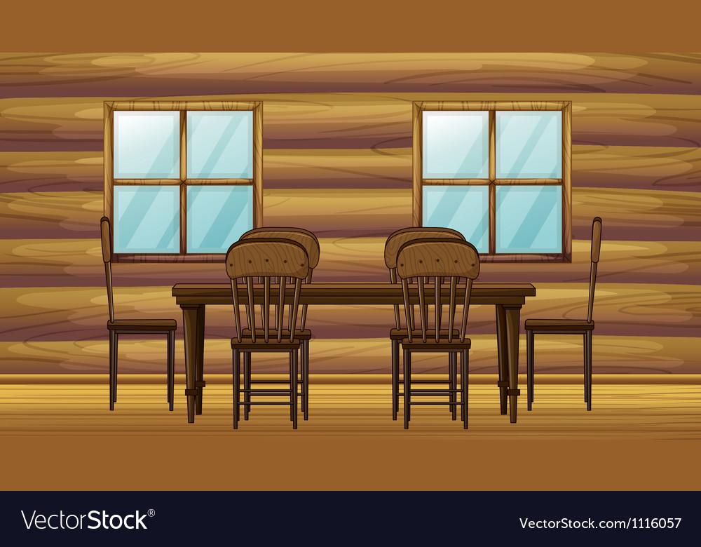 A table and chairs vector image