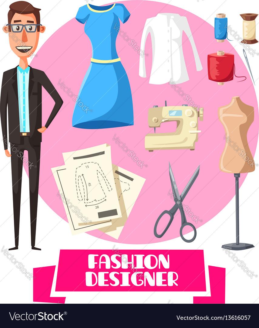 Fashion designer profession accessories vector image