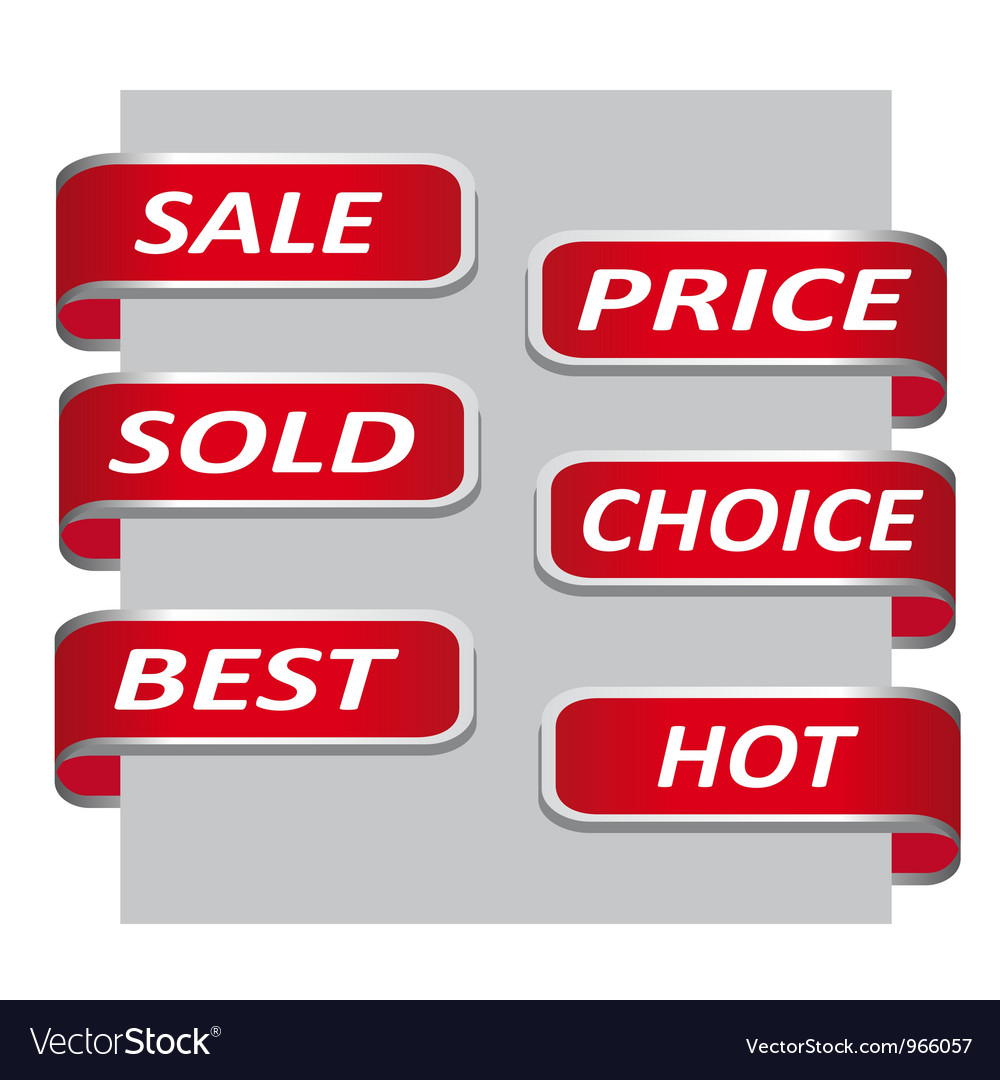 Set of red sales ribbon banner vector image