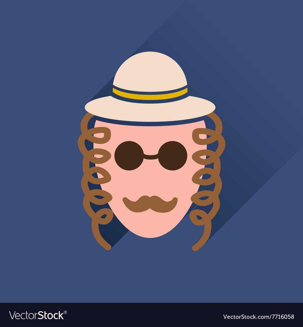 Flat icon with long shadow Jewish man