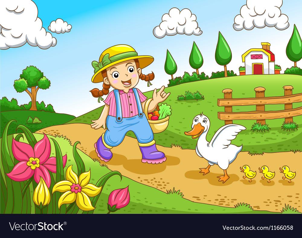 Cute little farmers girl at a farm vector image
