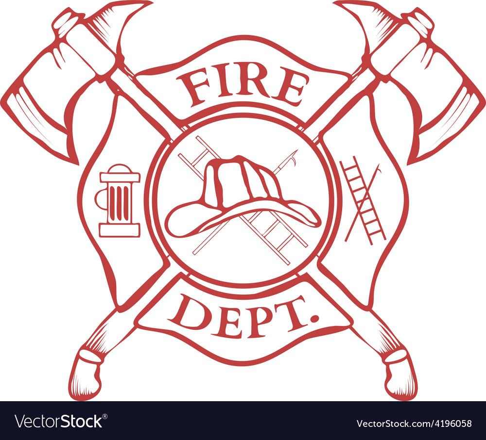 Fire Dept Label Helmet with Crossed Axes vector image