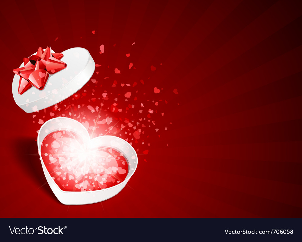 Heart gift with fly hearts vector image