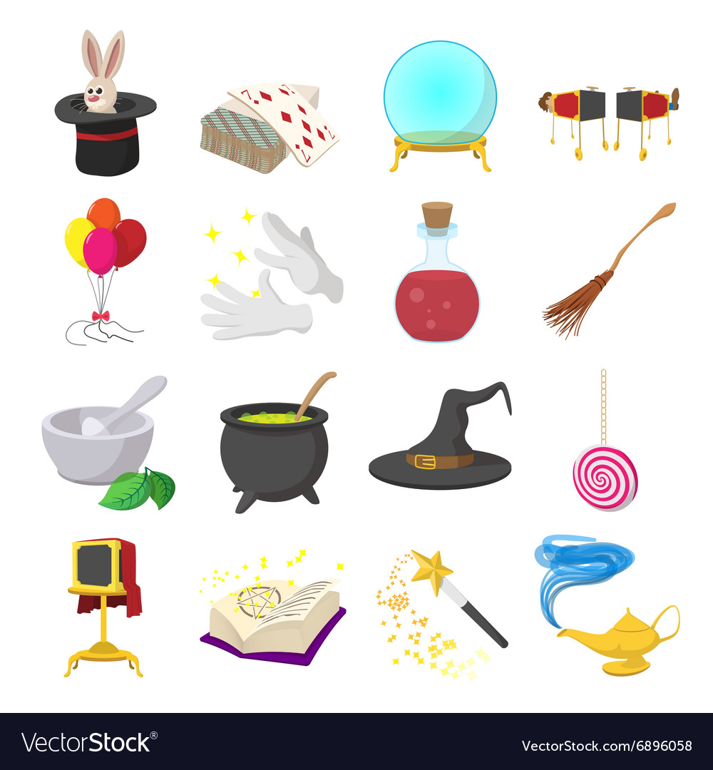 Magic cartoon icons set vector image
