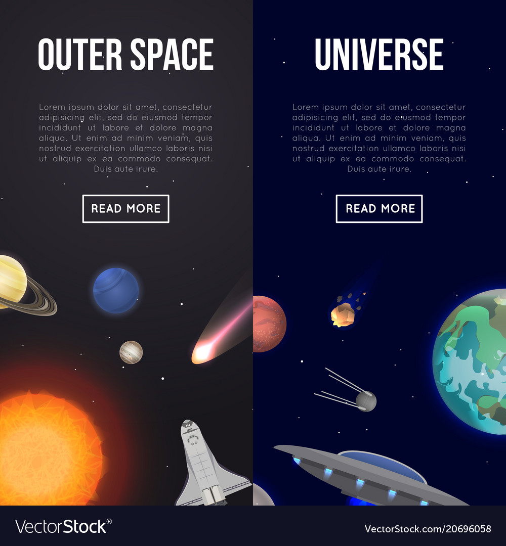 Outer space flyers with cosmic elements royalty free vector for Outer space elements