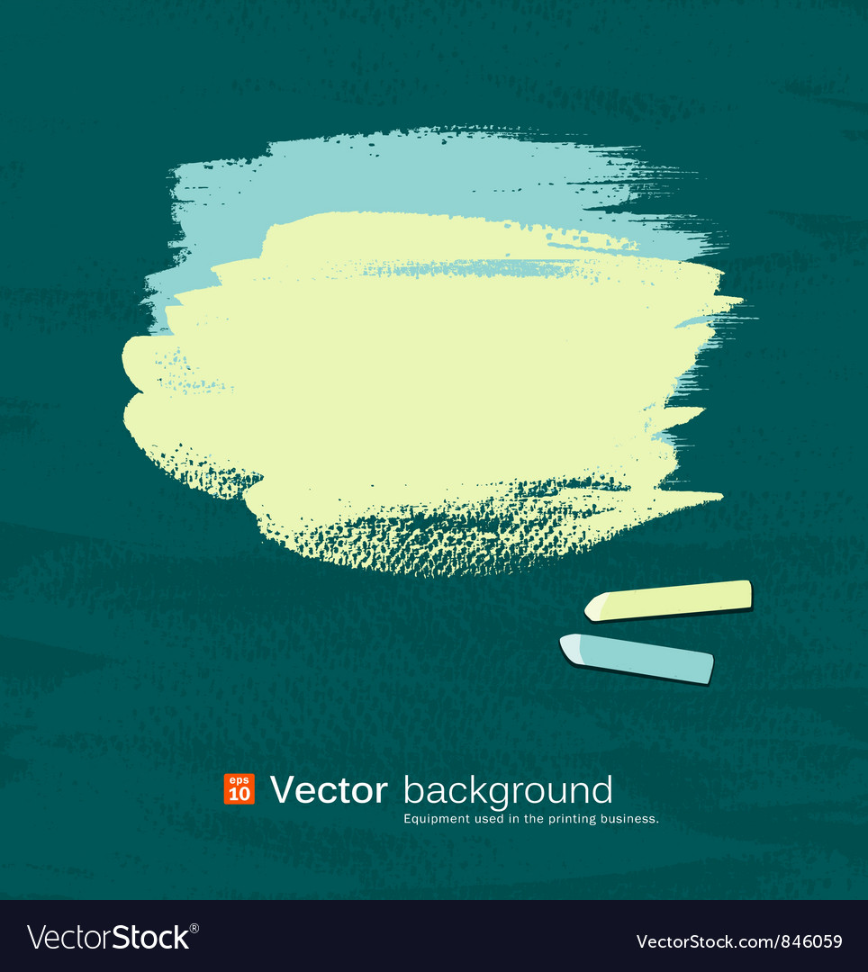 Chalk green and blue pastel on blackboard vector image