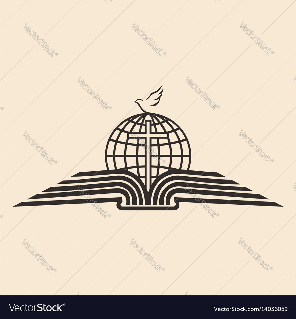 Open bible the holy spirit and the globe vector image