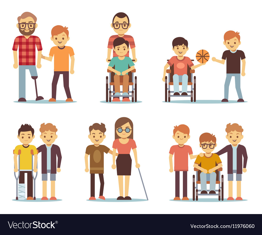 Disabled people and friends helping them vector image
