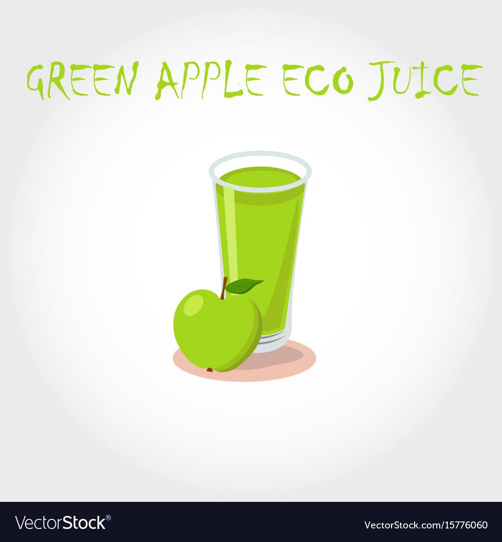 Glass bio fresh green apple juice vector image