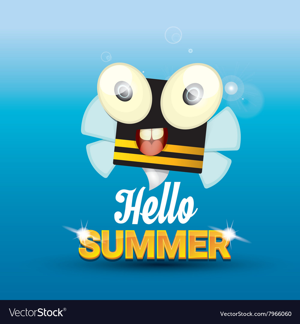 Exceptionnel Hello Summer Background Funny Cartoons Bee Vector Image