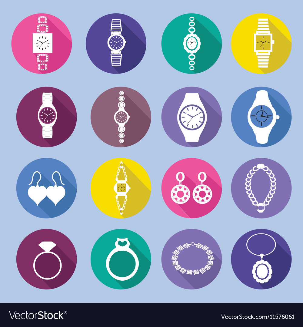 Icons set with fashion watches and jewelry i vector image